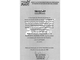 Agradecimento de Associação Jornalística (Adjori - Rj) - 1996